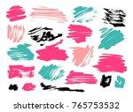 grunge brush stroke set | Shutterstock .eps vector #765753532