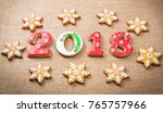 christmas gingerbread cookies... | Shutterstock . vector #765757966