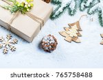 christmas frame with gift  the...   Shutterstock . vector #765758488