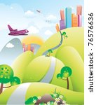 city fantasy landscape vector | Shutterstock .eps vector #76576636