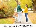 Stock photo young couple walking their dog in park 765768976
