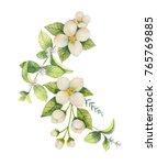 watercolor wreath of jasmine... | Shutterstock . vector #765769885