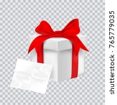 gift box with red ribbon.... | Shutterstock .eps vector #765779035