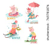 cartoon  funny pigs with... | Shutterstock .eps vector #765781876