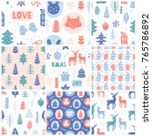 christmas doodles seamless... | Shutterstock .eps vector #765786892