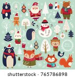 christmas collection with cute... | Shutterstock .eps vector #765786898