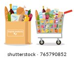 grocery in a shopping cart and... | Shutterstock .eps vector #765790852