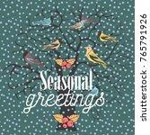 seasonal greetings. winter tree ... | Shutterstock .eps vector #765791926