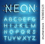 high detailed blue neon... | Shutterstock .eps vector #765803125