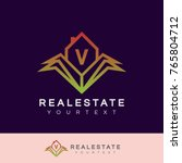real estate initial letter v... | Shutterstock .eps vector #765804712