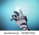 robotic hand works with virtual ... | Shutterstock . vector #765807556