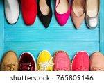 various female stylish shoes on ...   Shutterstock . vector #765809146