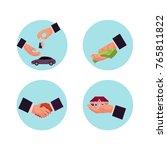 vector flat man hands making... | Shutterstock .eps vector #765811822