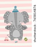 Stock vector sweetest baby elephant in the hat vector illustration in scandinavian style funny cute poster 765814876
