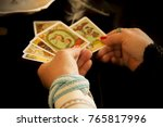 fortune teller with tarot cards  | Shutterstock . vector #765817996