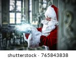 santa claus and home interior.  | Shutterstock . vector #765843838