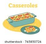 casserole food illustration | Shutterstock .eps vector #765850726
