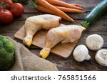 raw chicken legs with mixed... | Shutterstock . vector #765851566