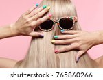rear view of young woman. blond ... | Shutterstock . vector #765860266