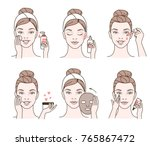 girl cares about her face.... | Shutterstock .eps vector #765867472
