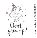 fashion cute unicorn with hand ... | Shutterstock .eps vector #765878422