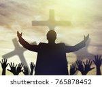 praise  worship  christian. | Shutterstock . vector #765878452