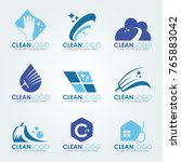 blue clean logo with  cleaning... | Shutterstock .eps vector #765883042