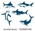 set of big sharks black... | Shutterstock . vector #765885448