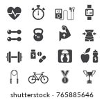 fitness and health icons with... | Shutterstock . vector #765885646
