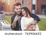 happy young couple have fun at... | Shutterstock . vector #765906652
