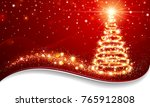greeting card christmas tree... | Shutterstock .eps vector #765912808