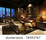Stock photo rendering of home interior focused on bed room 76592767