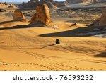 Sahara, the road in the desert. Tower mountains, Akabat desert, Africa, Egypt - stock photo