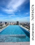 Small photo of A modern rooftop swimming pool for exercise with many skyscrapers and a blue sky with a few clouds in the background.