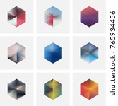 set of nine abstract vector... | Shutterstock .eps vector #765934456