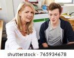 female careers advisor meeting... | Shutterstock . vector #765934678