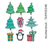 set of christmas tree and gift... | Shutterstock .eps vector #765935248