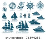 compass and sailing ships icon... | Shutterstock .eps vector #76594258