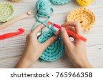 Woman Hands Knitting Crochet....