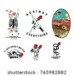 skull flowers patch | Shutterstock .eps vector #765982882