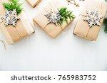 christmas handmade gift boxes... | Shutterstock . vector #765983752