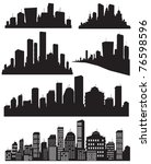 set of vector cities silhouette | Shutterstock .eps vector #76598596