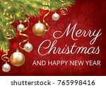 merry christmas greeting card... | Shutterstock . vector #765998416