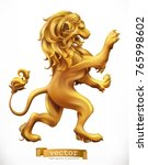 golden lion. emblem. 3d... | Shutterstock .eps vector #765998602