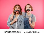 image of two funny women... | Shutterstock . vector #766001812
