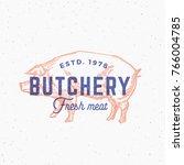 retro print effect butchery.... | Shutterstock .eps vector #766004785