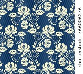 seamless blue lace background... | Shutterstock . vector #766006276