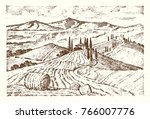 engraved hand drawn in old... | Shutterstock .eps vector #766007776