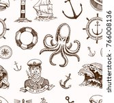 marine and nautical or sea ... | Shutterstock .eps vector #766008136