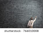 wise man writing mathematical... | Shutterstock . vector #766010008